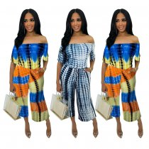 Tie Dye Print Off Shoulder Two Piece Sets MOY-5081