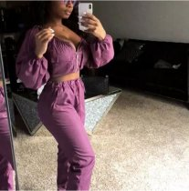 Solid Slash Neck Zipper Crop Tops Pant Set OD-8195