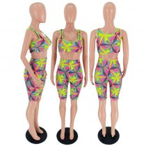 Geometric Print Tank Tops And Shorts 2 Piece Sets FST-7012
