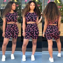 Letter Print Short Sleeve Two Piece Shorts Set MOS-921