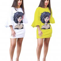 Character Print Ruffles Flare Sleeve Mini Dress OY-5316
