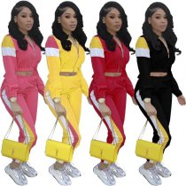 Plus Size Patchwork Sports Two Piece Set LM-8038