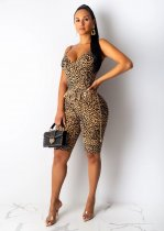 Plus Size Leopard Print Sexy Spaghetti Strap Backless Playsuit LUO-6224