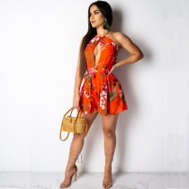Floral Print Bohemian Halter Cut Out Rompers MC-3034