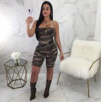Straps Camo Short Jumpsuit Big Size SMR8962