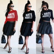 Letter Print Long Sleeve O Neck Tees LM-8015