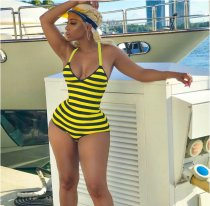 Black Yellow Striped Backless Strap One-piece MTY-607