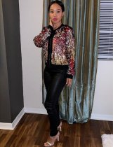 Colorful Sequin Zipper Long Sleeve Jacket TR-887