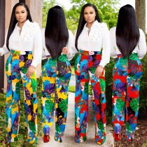 Floral Print High Waist Straight Long Pants AL-086