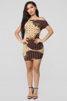 Chain Print Oblique Collar Sexy Mini Bodycon Dresses BER-1837