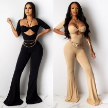 Sexy Bodycon Halter Crop Top Flare Jumpuits 2 Pieces CHY-1183
