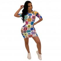 Fashion Print Short Sleeve O Neck Bodycon Mini Dress TE-3762