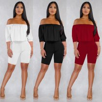 Solid Off Shoulder Half Sleeve Two Piece Shorts Set NY-8829