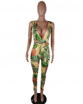 Pineapple Printed Low Cut Jumpsuit QY-5011
