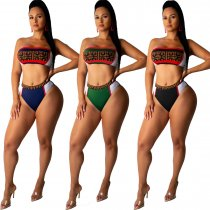 Sexy Printed Swimsuit Bandeau 2pcs Bikini Sets LUO-3011