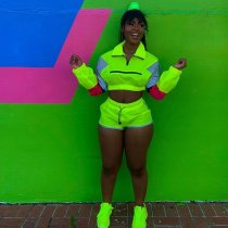 Reflective Patchwork Casual Sports Two Piece Sets OSM-4070