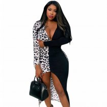 Leopard Print Deep V Long Sleeve Split Bodycon Midi Dress BGN-010
