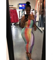Strapless Colorful Stripe Jumpsuit CQ-5058