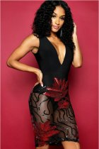 Sequined Mesh See Through Deep V Sexy Club Dress LX-8582