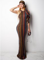 Striped Print Sleeveless Maxi Dress With Scarf YS-8288