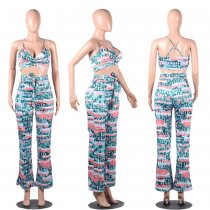 Sexy Printed Cami Top And Pants Slim Two Piece Sets FSL-040