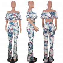 Floral Print Sexy Off Shoulder Two Piece Pants Set OYF-8047