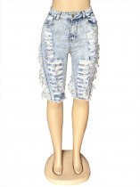 Denim Ripped Holes Jeans Half Length Pants OSM-5303