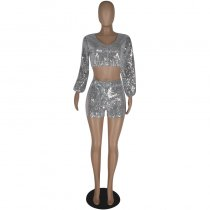Sexy Sequined Long Sleeve Shorts Two Piece Sets YIS-830
