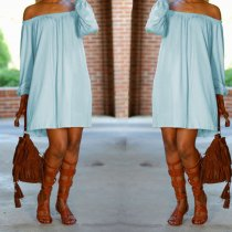 Solid Long Sleeve Slash Neck Mini Dresses BS-1070