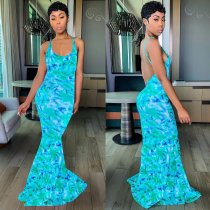 Sexy Backless Spaghetti Strap Print Mermaid Maxi Dress OM-1061