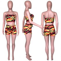 Camouflage Print Tube Tops And Shorts Bodycon 2 Piece Set CH-8011