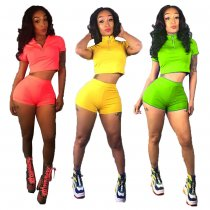 Solid Short Sleeve Shorts Casual Sports Two Piece Set MDO-9056