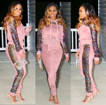 Pink Sequin Hoodies And Pants Two Piece Set NK-8307