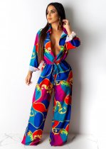 Casual Printed Long Sleeve Loose Jumpsuits ML-7232