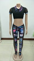 Sexy Printed Grid Hollow Out Two Piece Pants Set NY-8806