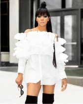 White Ruffles Off Shoulder Long Sleeve Tops MTY-688