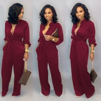 Plus Size Solid Long Sleeve Button Up Sashes Jumpsuits LSD-8602