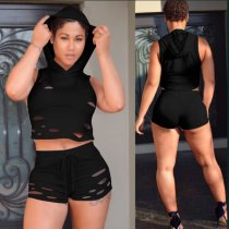 Burn Out Sleeveless Hoodies Shorts 2 Pcs YN-915