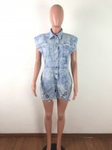 Tie Dye Print Denim Ripped Sleeveless Jeans Playsuit OSM-3286