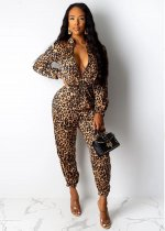 Sexy Leopard Print Zipper Long Sleeve Jumpsuits OMY-5162