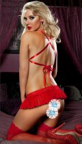 Red Lace Bra Three-point Lingerie Suit YQ-215