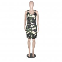 Camouflage Sleeveless Knee Length Bodycon Tank Dress MA-166