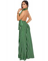 Vertical Stripes Open Back Wide-leg Jumpsuit with Belt ZS-049
