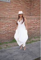 White Halter Backless Pocket Loose Harem Jumpsuits OMR-9557