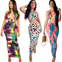 Sexy Cut Out Halter Print Maxi Dress TE-3683-1