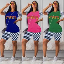 Plaid Letter Print T Shirt And Shorts Casual 2 Piece Sets OYF-8057