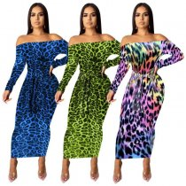 Leopard Print Slash Neck Off Shoulder Long Dresses MOF-5107