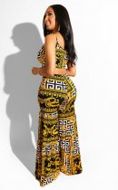 Retro Print Camisoles Top And Wide Leg Pants Set LUO-6208