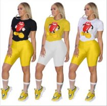 Plus Size Mickey Mouse Lips Print T Shirt CQ-5205
