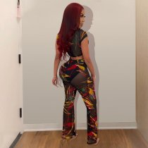 Sexy Printed Mesh See Through Crop Top Pants Set ME-310
